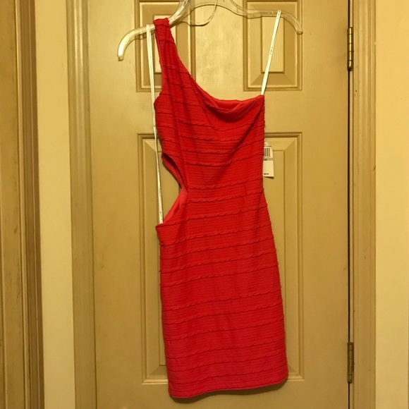 Macy's Dresses & Skirts - One shoulder coral party dress
